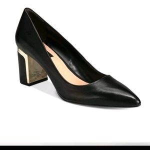 DKNY Elie Pointed Toe Gold Block Heel Pumps, 8